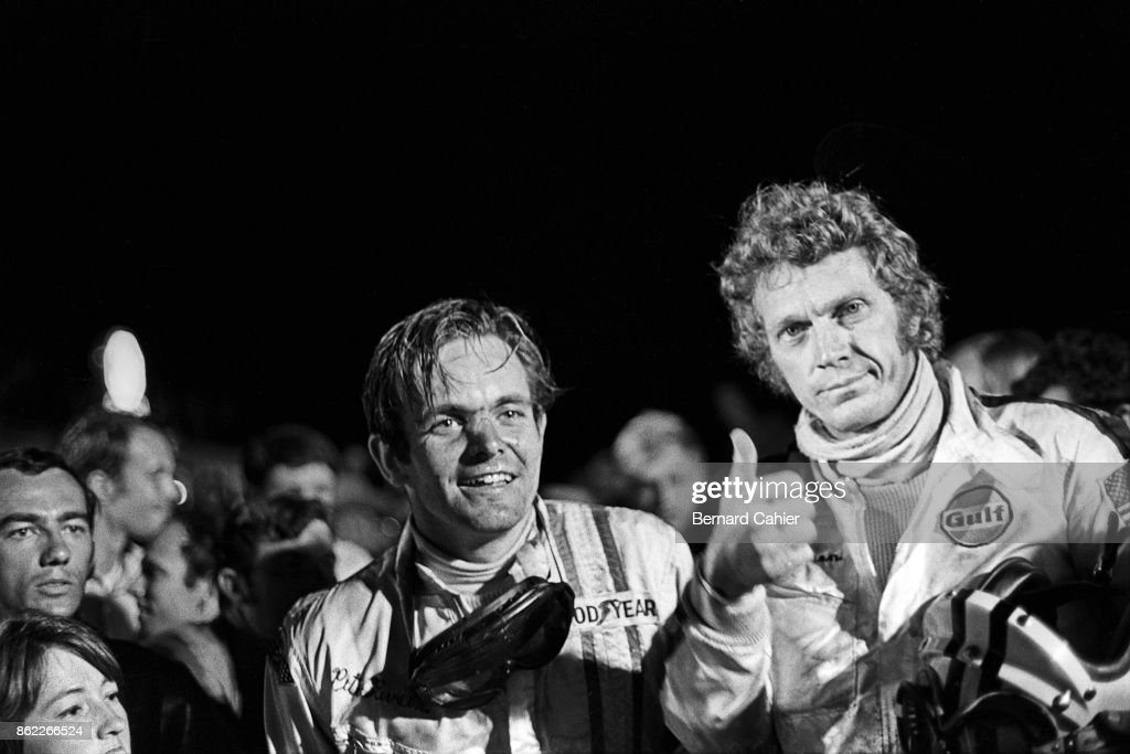 Peter Revson, Steve McQueen, 12 Hours of Sebring, Sebring, 21 March 1970. Peter Revson and Steve McQueen at the finish of the 1970 12 Hours of Sebring, savoring their second place overall.