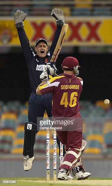 Peter Roach of the Bushrangers appeals unsuccessfully for the wicket of Wade Seccombe of the Bulls during the ING Cup match between the Queensland...