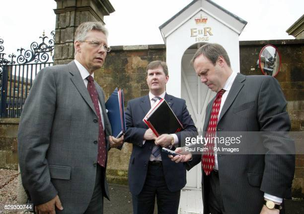 Peter Robinson MP Deputy leader of the Democratic Unionist Party with colleaguesJeffrey Donaldson MP and Nigel Dodds MPafter their meeting with...