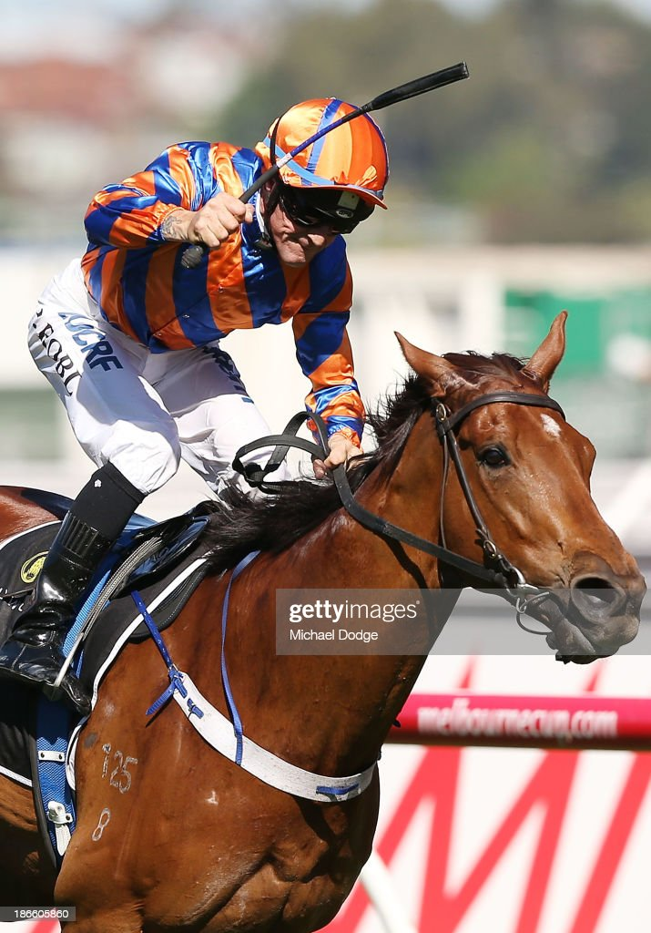 Peter Robl riding Fontelina wins race 8 the Yellowglen Stakes during Derby Day at Flemington Racecourse on November 2, 2013 in Melbourne, Australia.