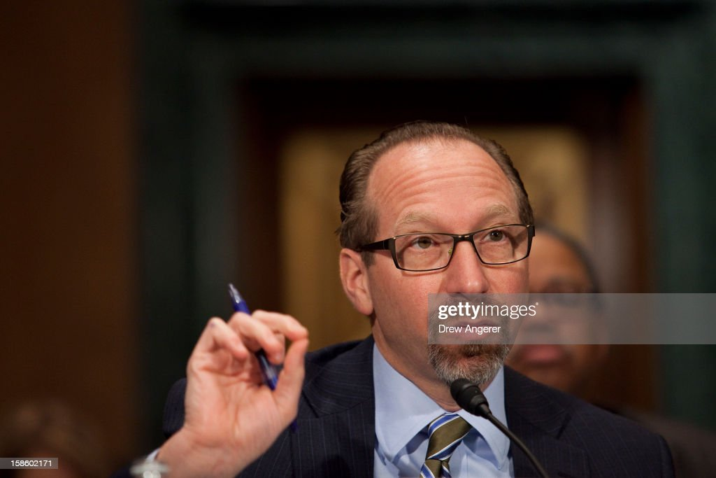 Peter Rogoff, FTA Administrator for the U.S. Federal Transit Administration, speaks at the Senate Committee on Banking, Housing, and Urban Affairs Subcommittee on Housing, Transportation and Community Development hearing on 'Recovering From Superstorm Sandy: Rebuilding our Housing and Transportation Infrastructure' on Capitol Hill, December 20, 2012 in Washington, DC. The hearing focused on how the storm affected infrastructure in the Northeast and how to better prepare for future situations.