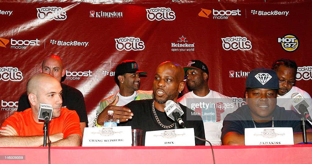 Peter Rosenberg of Hot 97, rapper DMX and rapper Jadakiss speak during the 2012 Rock the Bells Festival press conference and Fan Appreciation Party on at Santos Party House on June 13, 2012 in New York City.