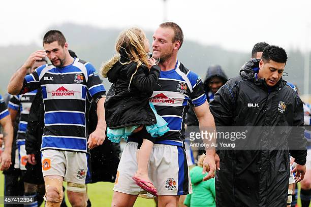 Peter Rowe Captain of Wanganui celebrates with his daughter after winning the Lochore Cup Semi Final match between King Country and Wanganui on...