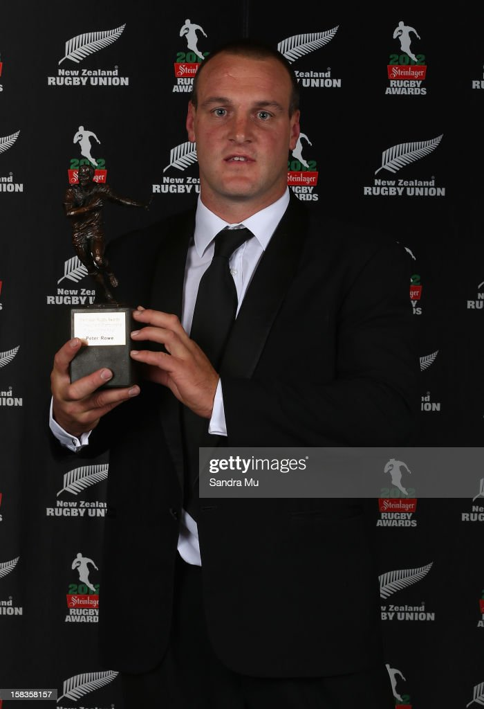 Peter Rowe poses with the Heartland Player of the Year award during the 2012 Steinlager Rugby Awards at SkyCity Convention Centre on December 14, 2012 in Auckland, New Zealand.