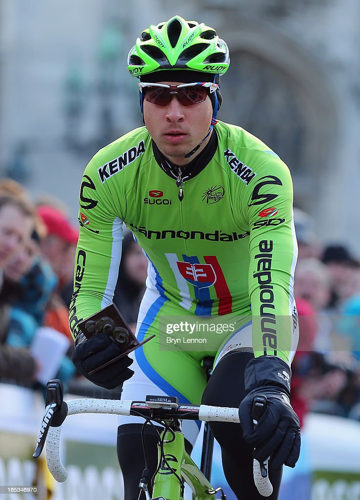 <a gi-track='captionPersonalityLinkClicked' href=/galleries/search?phrase=Peter+Sagan&family=editorial&specificpeople=4846179 ng-click='$event.stopPropagation()'>Peter Sagan</a> of Slovakia and Cannondale arrives at the start of the 97th Tour of Flanders from Brugge to Oudenaarde on March 31, 2013 in Bruges, Belgium.