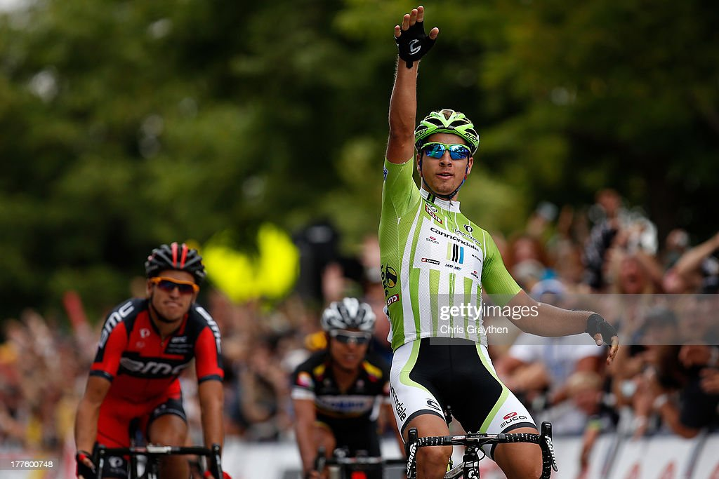 <a gi-track='captionPersonalityLinkClicked' href=/galleries/search?phrase=Peter+Sagan&family=editorial&specificpeople=4846179 ng-click='$event.stopPropagation()'>Peter Sagan</a> of Slovakia and Cannondale Pro Cycling celebrates after winning stage six of the USA Pro Challenge on August 24, 2013 in Fort Collins, Colorado.