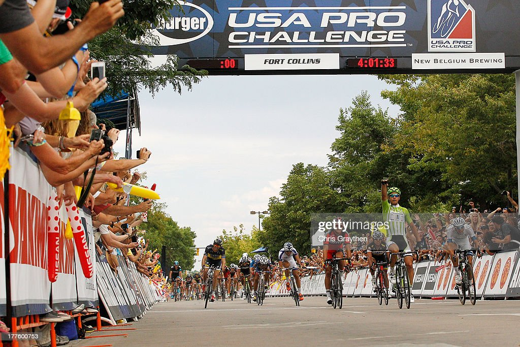 Peter Sagan of Slovakia and Cannondale Pro Cycling celebrates after winning stage six of the USA Pro Challenge on August 24, 2013 in Fort Collins, Colorado.