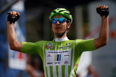 Peter Sagan of Slovakia and Cannondale Pro Cycling celebrates after winning stage seven of the 2013 USA Pro Challenge on August 25 2013 in Denver...
