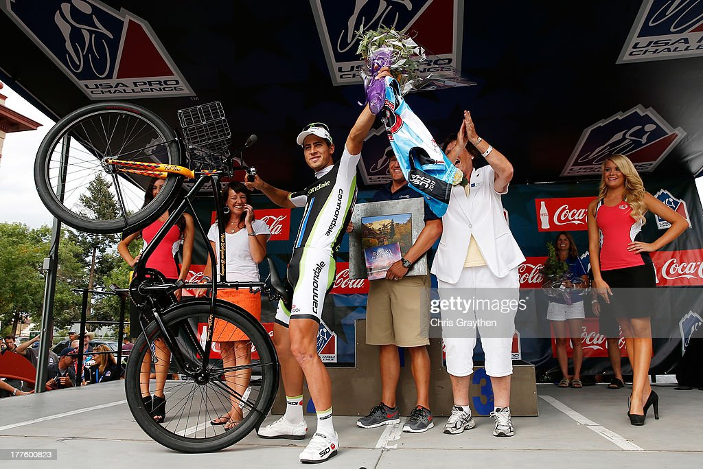 Peter Sagan of Slovakia and Cannondale Pro Cycling celebrates on the podium after winning stage six of the USA Pro Challenge on August 24, 2013 in Fort Collins, Colorado.