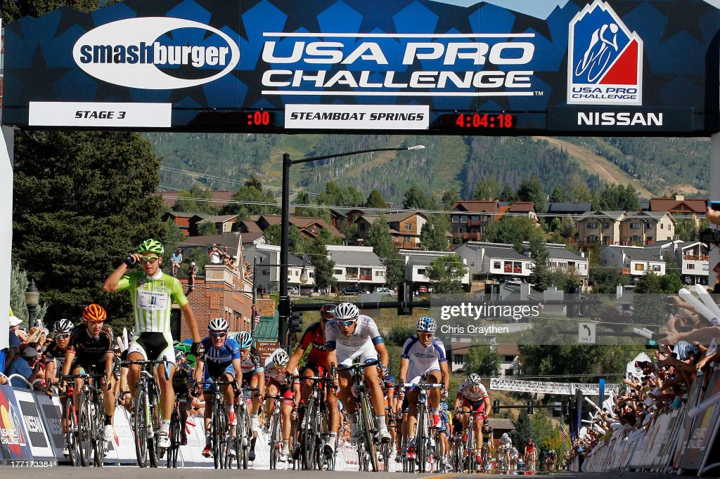 <a gi-track='captionPersonalityLinkClicked' href=/galleries/search?phrase=Peter+Sagan&family=editorial&specificpeople=4846179 ng-click='$event.stopPropagation()'>Peter Sagan</a> of Slovakia and Cannondale Pro Cycling crosses the finish line to win stage three of the USA Pro Cycling Challenge on August 21, 2013 in Steamboat Springs, Colorado.