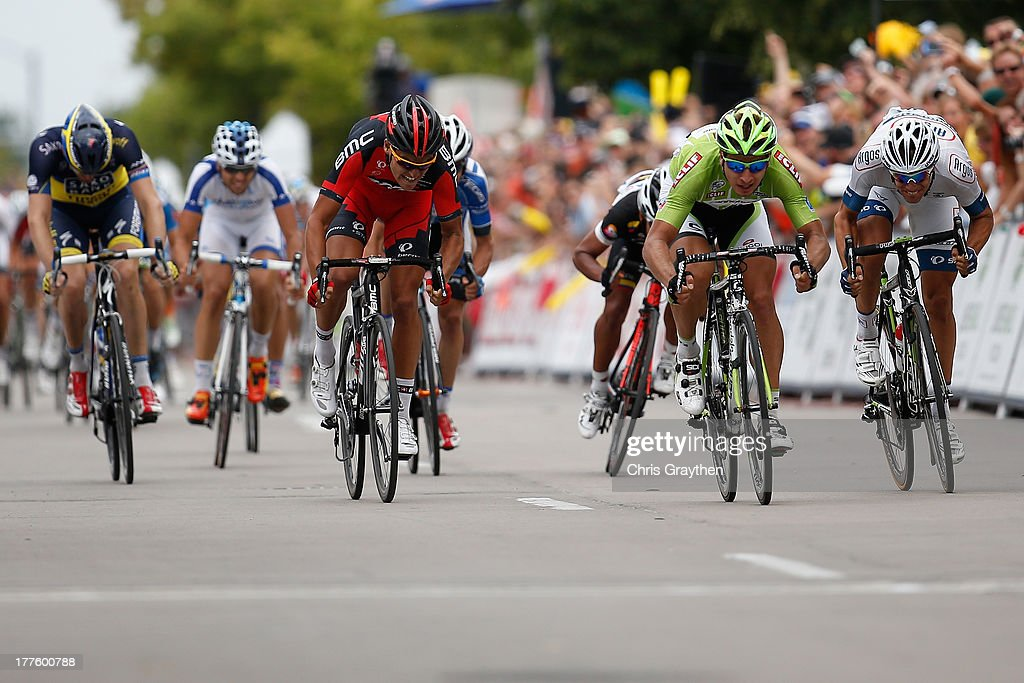 Peter Sagan of Slovakia and Cannondale Pro Cycling in the green CLIF Bar Sprint Jersey races to the stage win during stage six of the USA Pro Challenge on August 24, 2013 in Fort Collins, Colorado.