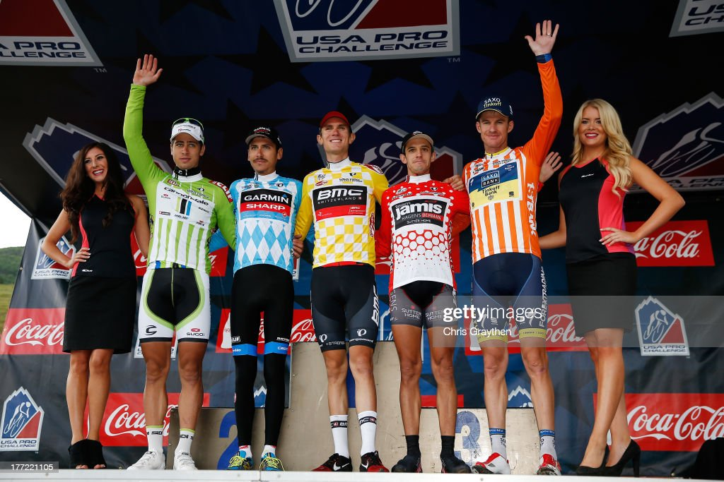 Peter Sagan of Slovakia and Cannondale Pro Cycling in the green Cliff Bar Sprint jersey Lachlan Morton of Australia and Team GarminSharp in the blue...
