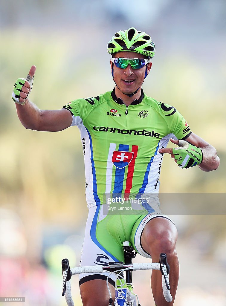 <a gi-track='captionPersonalityLinkClicked' href=/galleries/search?phrase=Peter+Sagan&family=editorial&specificpeople=4846179 ng-click='$event.stopPropagation()'>Peter Sagan</a> of Slovakia and Cannondale Pro Cycling Team celebrates winning stage two of the 2013 Tour of Oman from Fanja in Bidbid to Al Bustan on February 12, 2013 in Al Bustan, Oman.