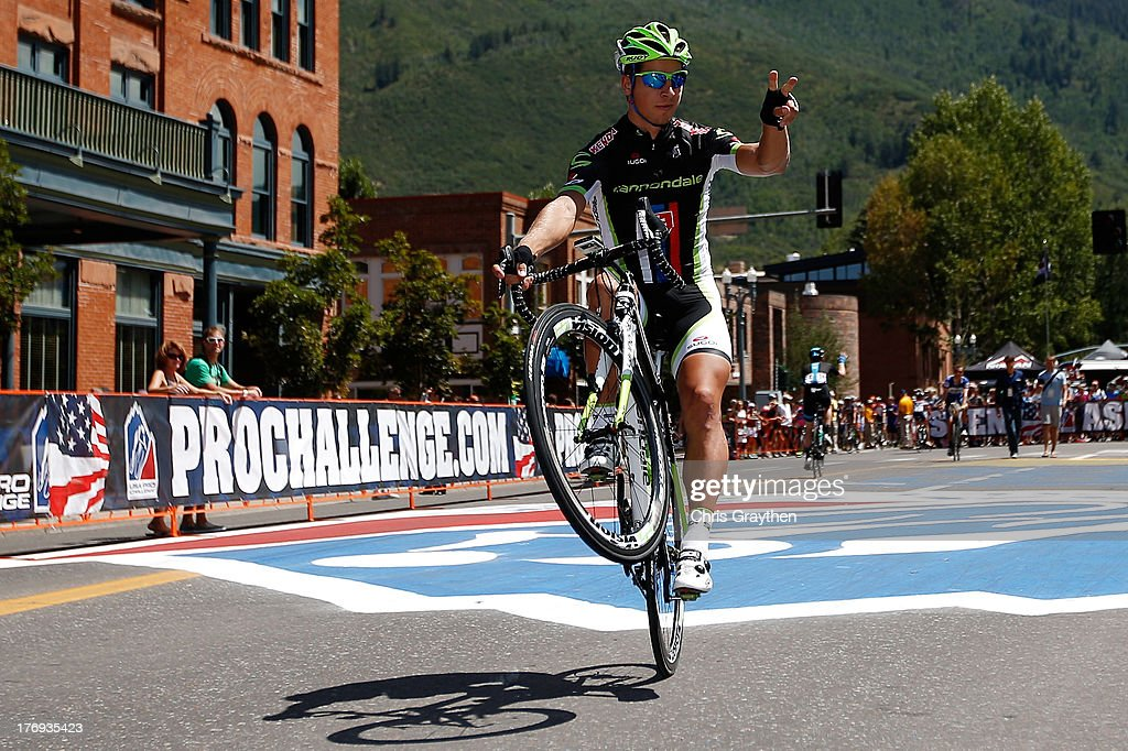 <a gi-track='captionPersonalityLinkClicked' href=/galleries/search?phrase=Peter+Sagan&family=editorial&specificpeople=4846179 ng-click='$event.stopPropagation()'>Peter Sagan</a> of Slovakia and Cannondale rides on one wheel to the start line prior to stage one of the USA Pro Cycling Challenge on August 19, 2013 in Aspen, Colorado.