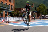 Peter Sagan of Slovakia and Cannondale rides on one wheel to the start line prior to stage one of the USA Pro Cycling Challenge on August 19 2013 in...