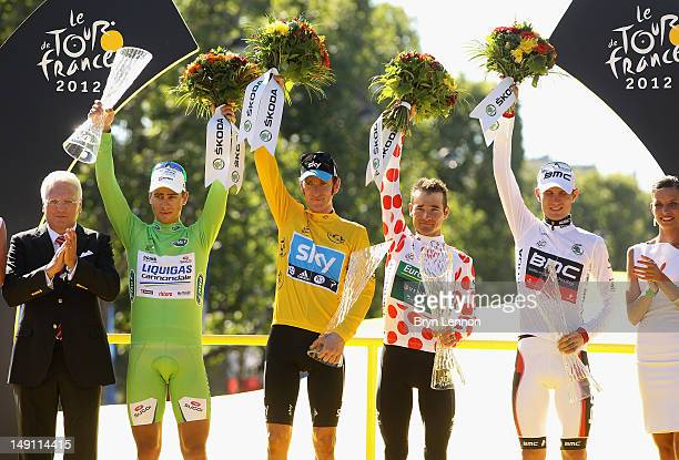 Peter Sagan of Slovakia and LiquigasCannondale Bradley Wiggins of Great Britain and SKY Procycling yellow jersey winner Thomas Voeckler of France and...