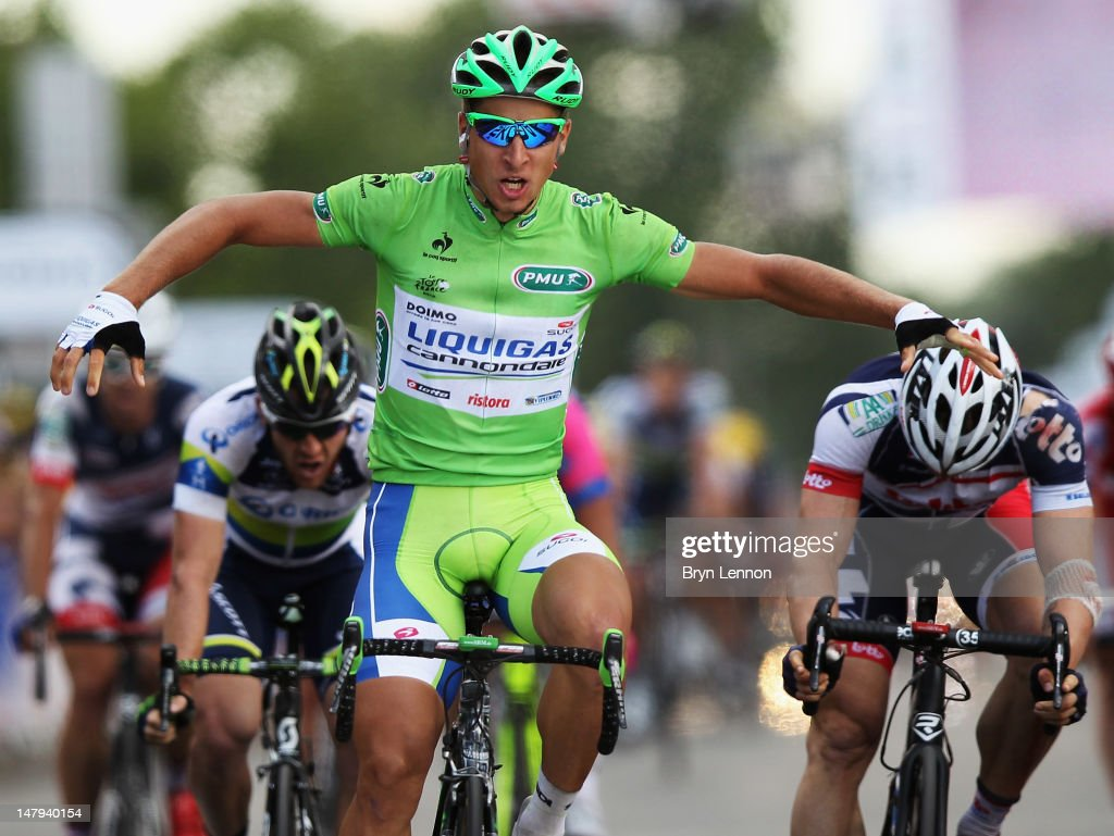 Peter Sagan of Slovakia and Liquigas-Cannondale celebrates as he crosses the finish line to win stage six of the 2012 Tour de France from Epernay to Metz on July 6, 2012 in Metz, France.