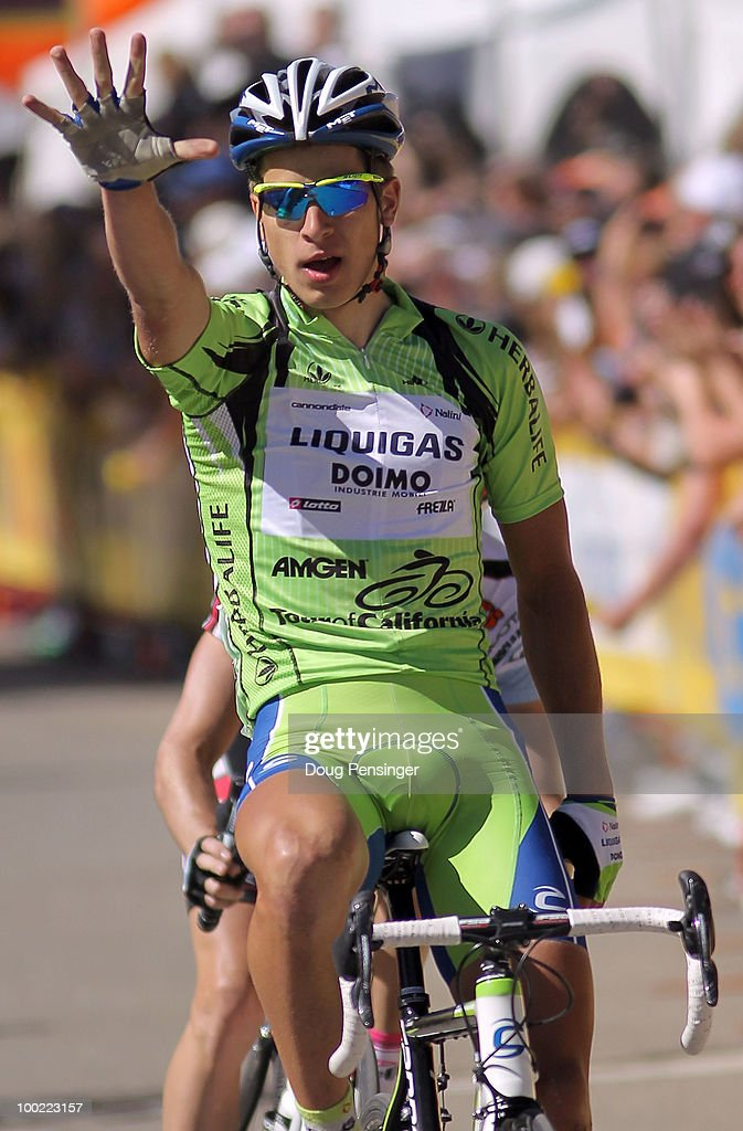 <a gi-track='captionPersonalityLinkClicked' href=/galleries/search?phrase=Peter+Sagan&family=editorial&specificpeople=4846179 ng-click='$event.stopPropagation()'>Peter Sagan</a> of Slovakia and riding for Liquigas-Diomo celebrates as he crosses the finish line to win Stage Six of the 2010 Tour of California from Palmdale to Big Bear on May 21, 2010 in Big Bear Lake, California. Sagan collected his second stage win of the tour and is holding the point leader's jersey and the best young rider's jersey.