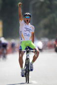 Peter Sagan of Slovakia and riding for LiquigasDoimo celebrates as he wins Stage Five of the 2010 Tour of California from Visalia to Bakersfield on...