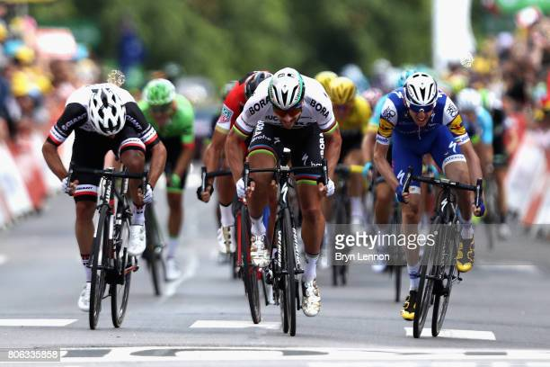 Peter Sagan of Slovakia and team BoraHansgrohe makes his way to cross the line to win stage 3 of the 2017 Tour de France a 2125km road stage from...