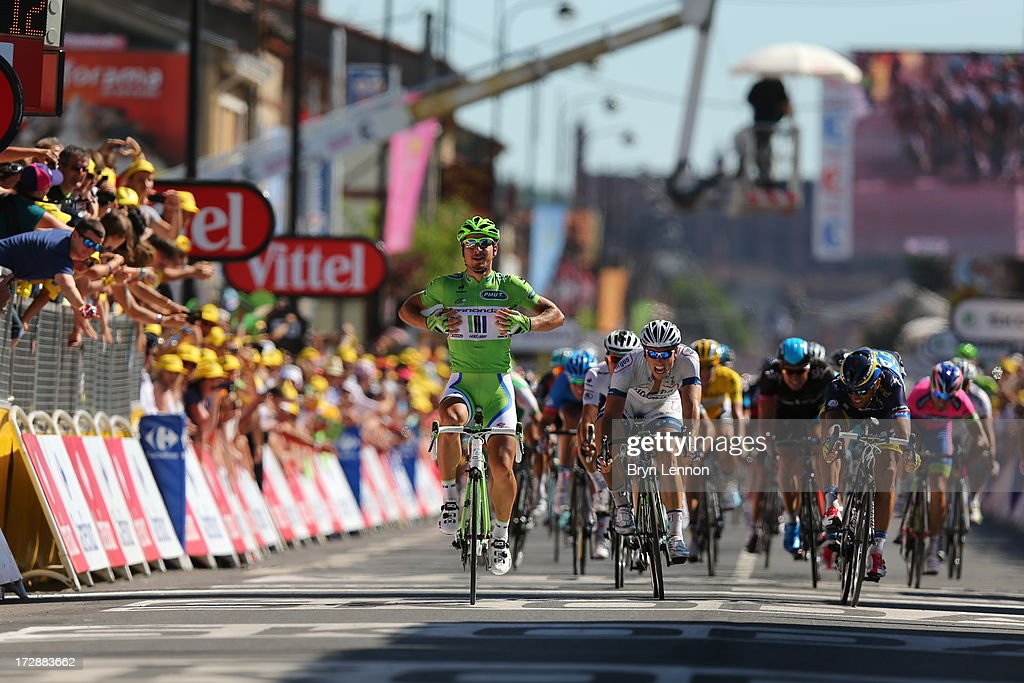 <a gi-track='captionPersonalityLinkClicked' href=/galleries/search?phrase=Peter+Sagan&family=editorial&specificpeople=4846179 ng-click='$event.stopPropagation()'>Peter Sagan</a> of Slovakia and Team Cannondale celebrates as he crosses the finish line to win stage seven of the 2013 Tour de France, a 205.5KM road stage from Montpellier to Albi, on July 5, 2013 in Albi, France.
