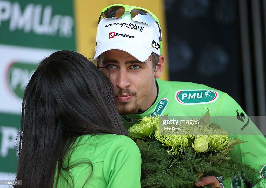 Peter Sagan of Slovakia and Team Cannondale keeps the best sprinter's green jersey after Stage Thirteen of the 2013 Tour de France, the 100th edition, a 173 km road stage from Tours to Saint-Amand-Montrond on July 12, 2013 in Saint-Amand-Montrond, France.