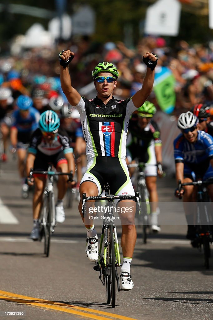 <a gi-track='captionPersonalityLinkClicked' href=/galleries/search?phrase=Peter+Sagan&family=editorial&specificpeople=4846179 ng-click='$event.stopPropagation()'>Peter Sagan</a> of Slovakia and Team Cannondale Pro Cycling crosses the finish line to win stage one of the USA Pro Cycling Challenge on August 19, 2013 in Aspen, Colorado.