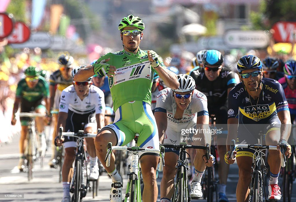 <a gi-track='captionPersonalityLinkClicked' href=/galleries/search?phrase=Peter+Sagan&family=editorial&specificpeople=4846179 ng-click='$event.stopPropagation()'>Peter Sagan</a> of Slovakia and Team Cannondale wins the sprint in front of John Degenkolb of Germany and Team Argos-Shimano, <a gi-track='captionPersonalityLinkClicked' href=/galleries/search?phrase=Daniele+Bennati&family=editorial&specificpeople=584838 ng-click='$event.stopPropagation()'>Daniele Bennati</a> of Italy and Team Saxo-Tinkoff, Michal Kwiatkowski of Poland and Team Omega Pharma Quick-Step to gain Stage Seven and retains the green jersey as points leader of the Tour de France 2013, the 100th Tour de France, a 205 km road stage from Montpellier to Albi on July 5, 2013 in Albi, France.