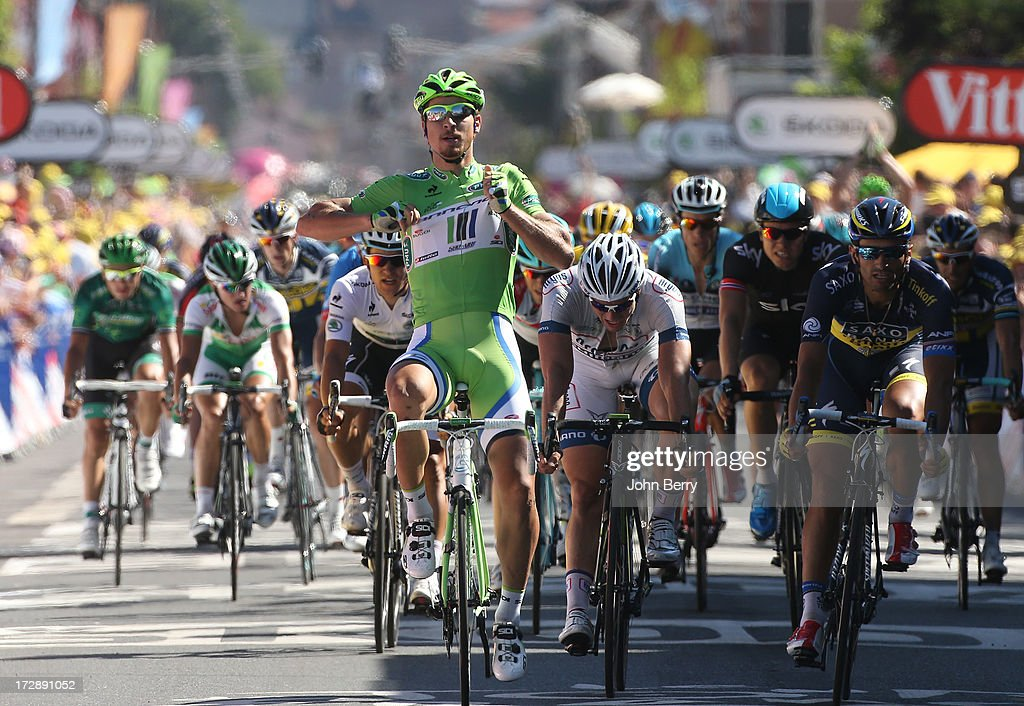 <a gi-track='captionPersonalityLinkClicked' href=/galleries/search?phrase=Peter+Sagan&family=editorial&specificpeople=4846179 ng-click='$event.stopPropagation()'>Peter Sagan</a> of Slovakia and Team Cannondale wins the sprint in front of John Degenkolb of Germany and Team Argos-Shimano, <a gi-track='captionPersonalityLinkClicked' href=/galleries/search?phrase=Daniele+Bennati&family=editorial&specificpeople=584838 ng-click='$event.stopPropagation()'>Daniele Bennati</a> of Italy and Team Saxo-Tinkoff, Michal Kwiatkowski of Poland and Team Omega Pharma Quick-Step to gain Stage Seven and retains the points leader green jersey of the Tour de France 2013, the 100th Tour de France, a 205 km road stage from Montpellier to Albi on July 5, 2013 in Albi, France.