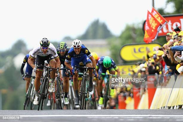 Peter Sagan of Slovakia and the Tinkoff team sprints against Julian Alaphilippe of France and EtixxQuickStep on his way to winning stage two of the...