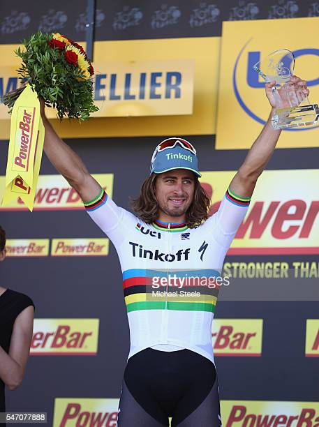 Peter Sagan of Slovakia and Tinkoff celebrates his stage victory on the podium following the 1625km stage eleven of Le Tour de France from...