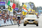 Peter Sagan of Slovakia and Tinkoff celebrates his victory as he crosses the finish line during the 100th edition of the Tour of Flanders from Bruges...