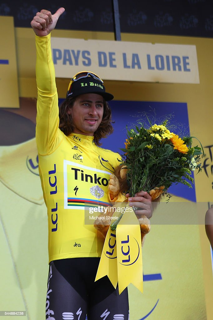 Peter Sagan of Slovakia and Tinkoff receives the leaders yellow jersey after stage three of Le Tour de France from Granville to Angers on July 4, 2016 in Angers, France.
