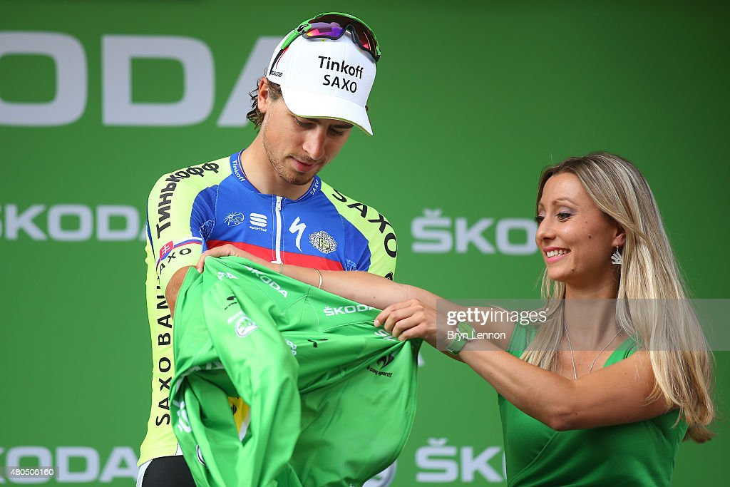 Peter Sagan of Slovakia and Tinkoff-Saxo dons the green jersey following stage nine of the 2015 Tour de France, a 28km team time trial between Vannes and Plumelec on July 12, 2015 in Plumelec, France.