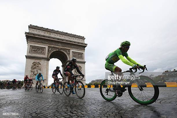 Peter Sagan of Slovakia and TinkoffSaxo rides past the Arc de Triomphe during the twenty first stage of the 2015 Tour de France a 1095 km stage...