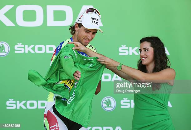 Peter Sagan of Slovakia and TinkoffSaxo takes possession of the green jersey following stage eight of the 2015 Tour de France a 1815km stage between...