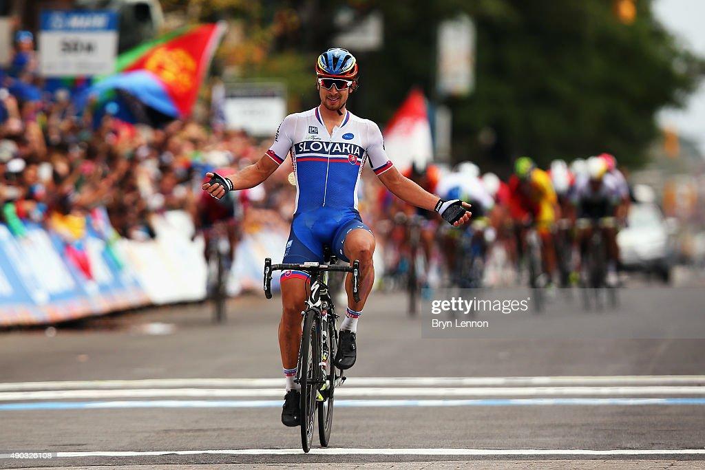 Peter Sagan of Slovakia celebrates winning the Elite Men World Road Race Championship on day eight of the UCI Road World Championships on September 27, 2015 in Richmond, Virginia.