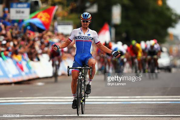 Peter Sagan of Slovakia celebrates winning the Elite Men World Road Race Championship on day eight of the UCI Road World Championships on September...