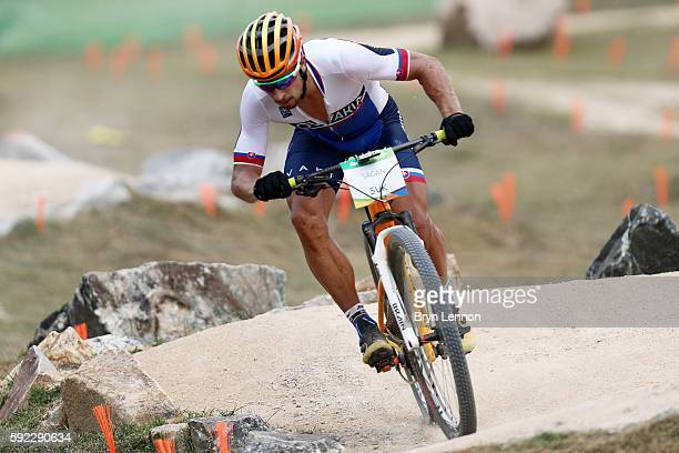 Peter Sagan of Slovakia practices on the Mountain Bike course on Day 15 of the Rio 2016 Olympic Games at the Mountain Bike Centre on August 20 2016...