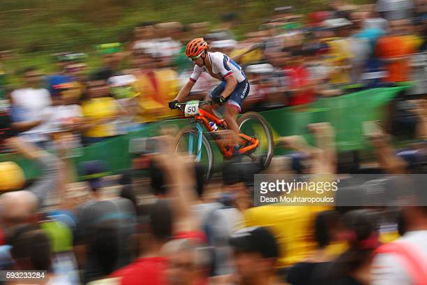 Peter Sagan of Slovakia rides during the Men's CrossCountry on Day 16 of the Rio 2016 Olympic Games at Mountain Bike Centre on August 21 2016 in Rio...