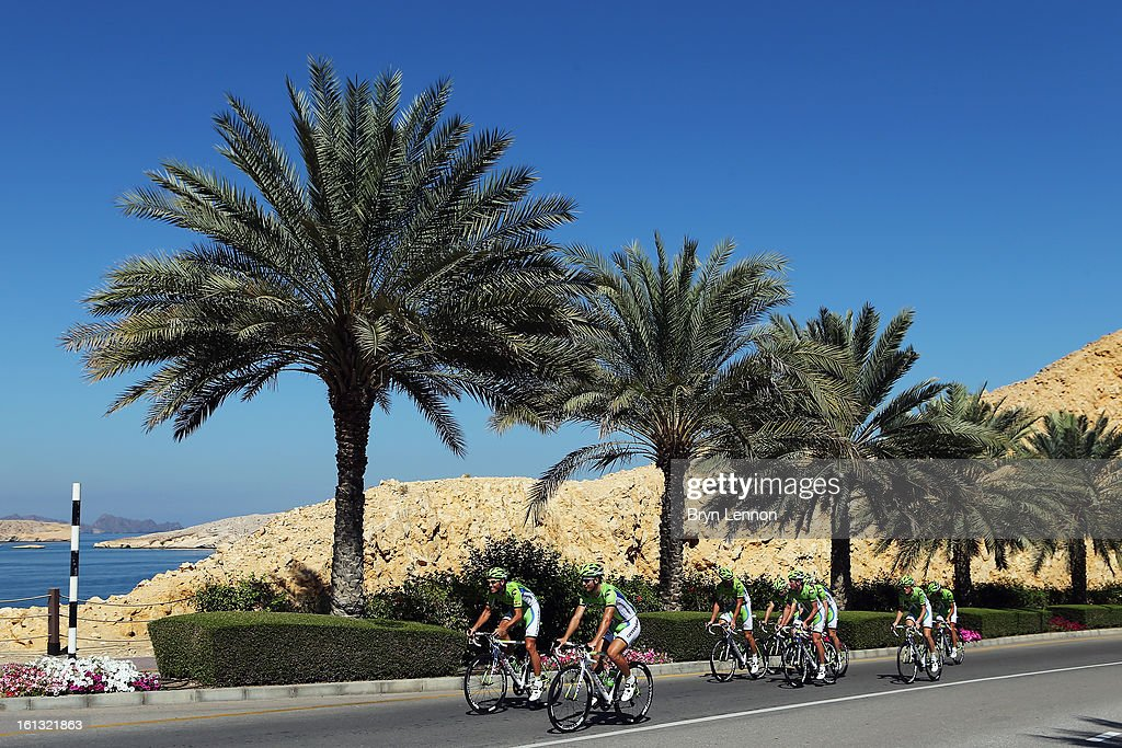 <a gi-track='captionPersonalityLinkClicked' href=/galleries/search?phrase=Peter+Sagan&family=editorial&specificpeople=4846179 ng-click='$event.stopPropagation()'>Peter Sagan</a> of Slovakia rides with his Cannondale team on a training ride ahead of the 2013 Tour of Oman on February 10, 2013 in Muscat, Oman. The race will start tomorrow with a 162km stage from Al Musannah to Sultan Qaboos University.