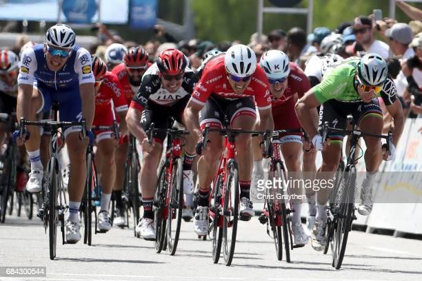 Peter Sagan of Slovakia riding for BoraHansgrohe beats John Degenkolb of Germany riding for TrekSegafredo to the line in the field sprint during...