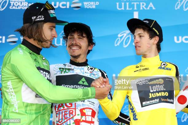 Peter Sagan of Slovakia riding for BoraHansgrohe in the Visit California Sprint Leader jersey George Bennett of New Zealand riding for Team Lotto...