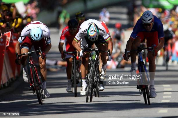 Peter Sagan of Slovakia riding for BoraHansgrohe sprints to the line during stage four of the 2017 Le Tour de France a 2075km stage from...