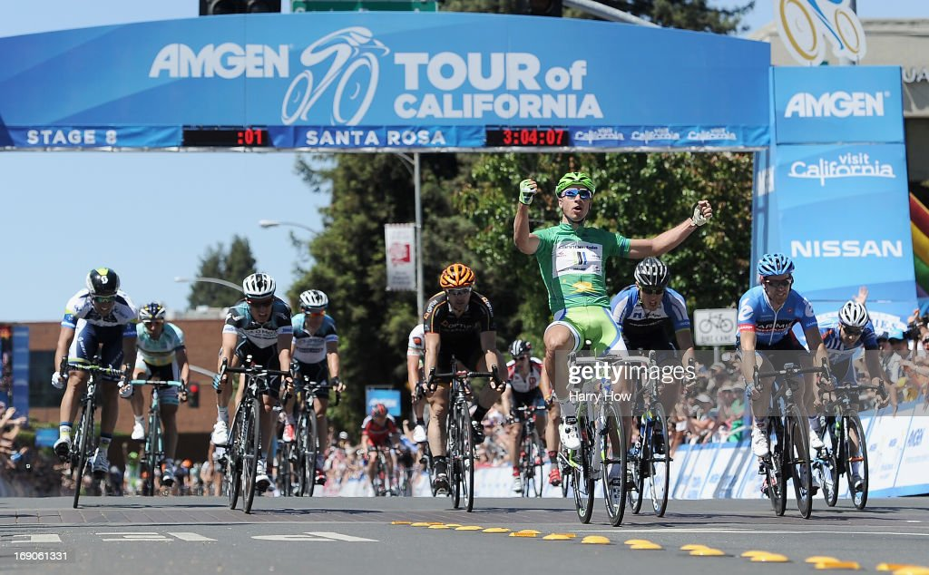 <a gi-track='captionPersonalityLinkClicked' href=/galleries/search?phrase=Peter+Sagan&family=editorial&specificpeople=4846179 ng-click='$event.stopPropagation()'>Peter Sagan</a> of Slovakia riding for Cannondale celebrates after winning stage eight of the Amgen Tour of California on May 19, 2013 in Santa Rosa, California.