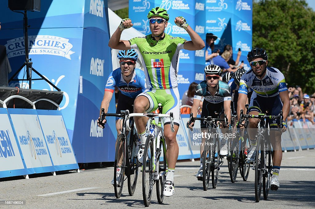 Peter Sagan (C) of Slovakia riding for Cannondale Pro Cycling celebrates as he wins Stage 3 of the Tour of California from Palmdale to Santa Clarita on May 14, 2013 in Palmdale, California.