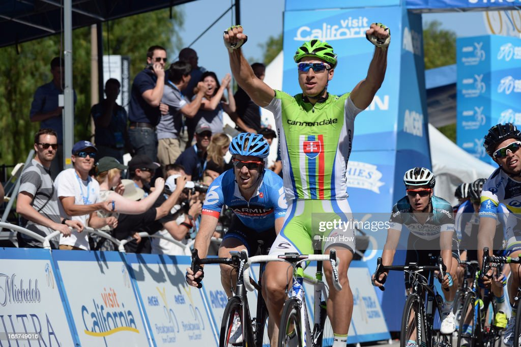 <a gi-track='captionPersonalityLinkClicked' href=/galleries/search?phrase=Peter+Sagan&family=editorial&specificpeople=4846179 ng-click='$event.stopPropagation()'>Peter Sagan</a> of Slovakia riding for Cannondale Pro Cycling celebrates as he wins Stage 3 of the Tour of California from Palmdale to Santa Clarita on May 14, 2013 in Palmdale, California.