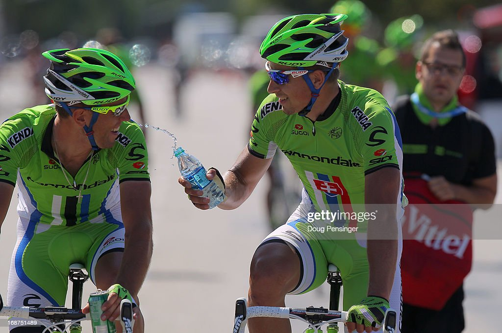 <a gi-track='captionPersonalityLinkClicked' href=/galleries/search?phrase=Peter+Sagan&family=editorial&specificpeople=4846179 ng-click='$event.stopPropagation()'>Peter Sagan</a> of Slovakia riding for Cannondale Pro Cycling celebrates his win as he douses his teammate Guillaume Boivin of Canada riding for Cannondale Pro Cycling in Stage Three of the 2013 Amgen Tour of California from Palmdale to Santa Clarita on May 14, 2013 in Santa Clarita, California.