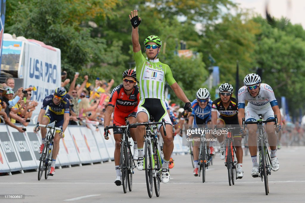 <a gi-track='captionPersonalityLinkClicked' href=/galleries/search?phrase=Peter+Sagan&family=editorial&specificpeople=4846179 ng-click='$event.stopPropagation()'>Peter Sagan</a> #51 of Slovakia riding for Cannondale Pro Cycling sprints to victory in Stage Six of the USA Pro Cycling Challenge on August 24, 2013 in Ft. Collins, Colorado.