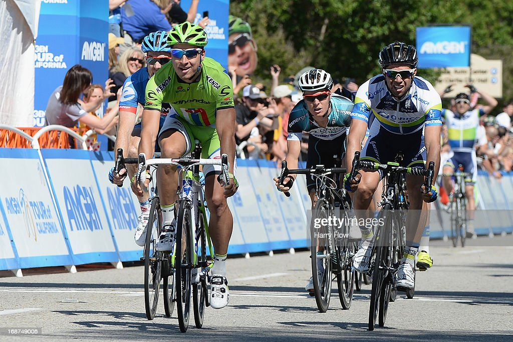 Peter Sagan (L) of Slovakia riding for Cannondale Pro Cycling wins Stage 3 of the Tour of California from Palmdale to Santa Clarita on May 14, 2013 in Palmdale, California.